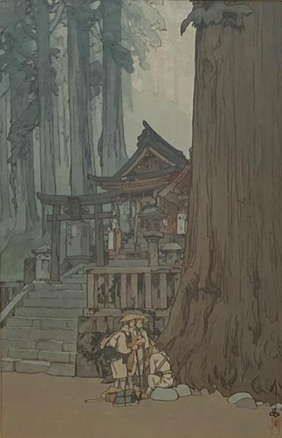 Temple in the Woods Hiroshi Yosnida Woodblock