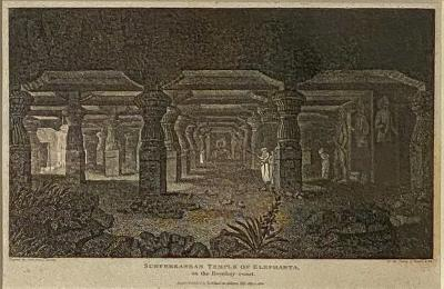 Temple of Elephanta Engraving England Circa 1920