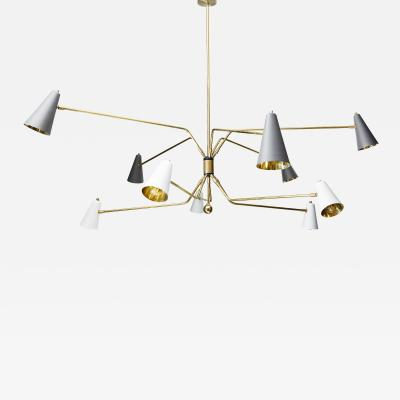 Ten Arms Midcentury Style Chandelier with Grey and White Cones