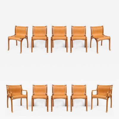 Ten Saddle Stitched Leather Bent Wood Dining Chairs