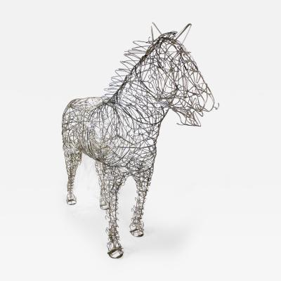 Terence Gower Massive Horse Sculpture Crafted From 1000 Chrome Coat Hangers for Barneys NY
