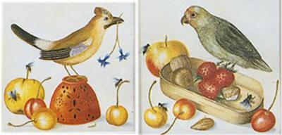 Teresa Berenice Vitelli Pair Birds and Fruits