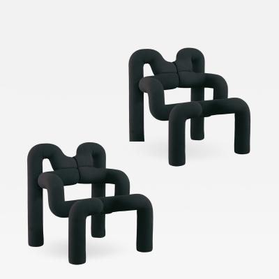 Terje Ekstrom Pair of Iconic Black Armchairs by Terje Ekstrom Norway 1980s