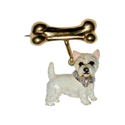 Terrier Dog Bone Gold Enamel Brooch