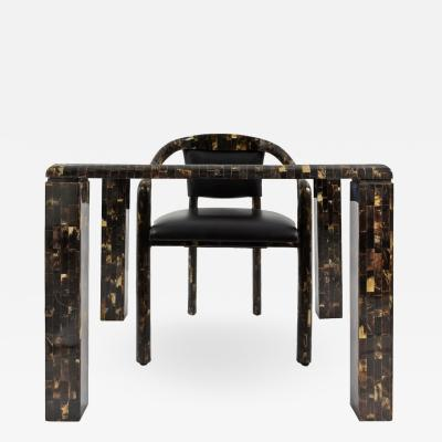 Tessellated Horn Games Table and Four Armchairs