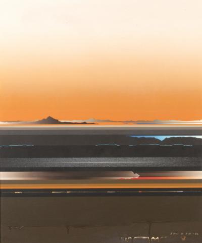 Tetsuro Sawada Original Abstract Painting On Canvas By Tetsuro Sawada Circa 1982