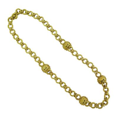 Textured Circle and Lion Head Gold Link Chain