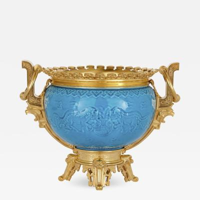 Th odore Deck French Chinoiserie style gilt bronze and faience jardini re