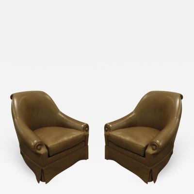 Thad Hayes Thad Hayes Custom Pair of Barrel Back Lounge Chairs 2000