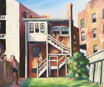 Thaddeus J Haduch Original American Urban Scene Oil Painting by Thaddeus J Haduch 1947