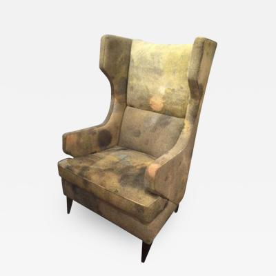 The Benjamin Wing Back Club Chair Upholstered in Martyn Thompsons Blotch Fabric