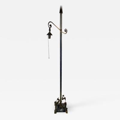 The Crest Company UNUSUAL ART DECO ARROW AND DEER FLOOR LAMP BY CREST