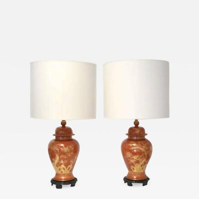 The Marbro Lamp Company Pair of Hollywood Regency Ceramic Jar Form Table Lamps