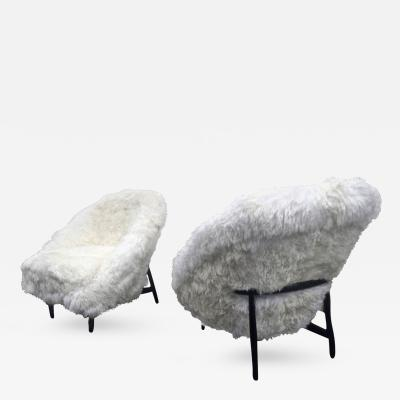 Theo Ruth Theo Ruth for Artifort 1950s Chairs Newly Covered in Sheep Fur
