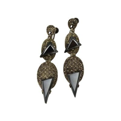 Theodor Fahrner ART DECO STERLING SILVER MARCASITE HEMATITE EARRINGS BY THEODOR FARHNER