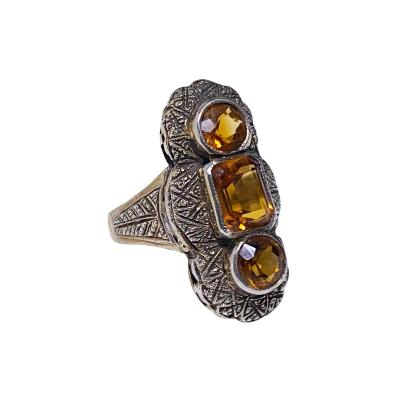Theodor Fahrner attributed Art Deco Silver and orange stone Ring C 1920