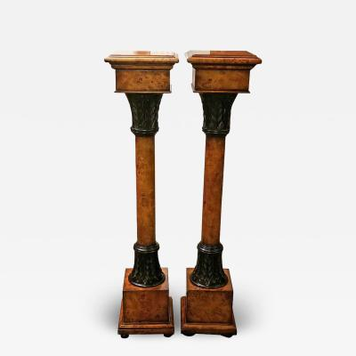 Theodore Alexander Pair of Biedermeier Style Burl Yewood and Bronze Mounted Pillars