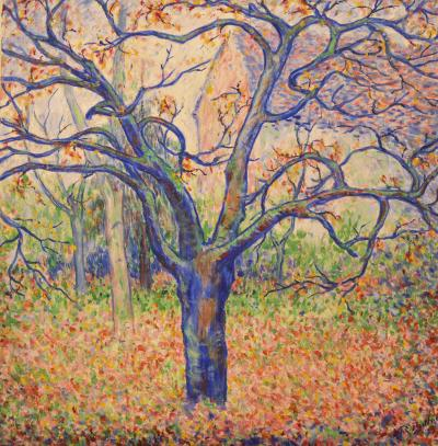 Theodore Earl Butler Blue Tree in Fall Butlers garden in Giverny 1923