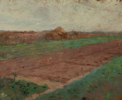 Theodore Robinson Planting Fields on verso Riverbed