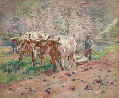 Theodore Robinson Springtime Vermont Oxen Plowing