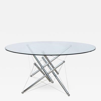 Theodore Waddell Italian Modern Chromed Steel and Glass Center Table Theodore Waddell Cassina
