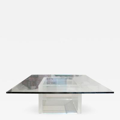 Thick Lucite Coffee Table with Glass Top 1970s