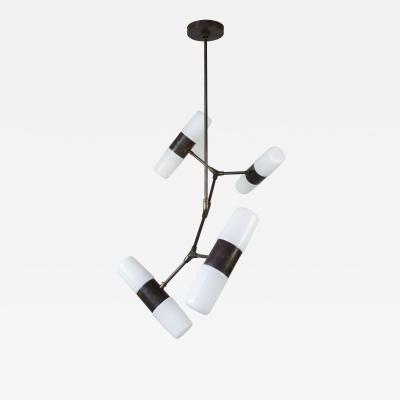 Thierry Jeannot Chandelier pendant lamp opaline vintage glass shades orientations variable
