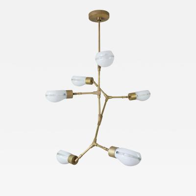 Thierry Jeannot Chandelier with articulated 1960ies Industrial Glass shades