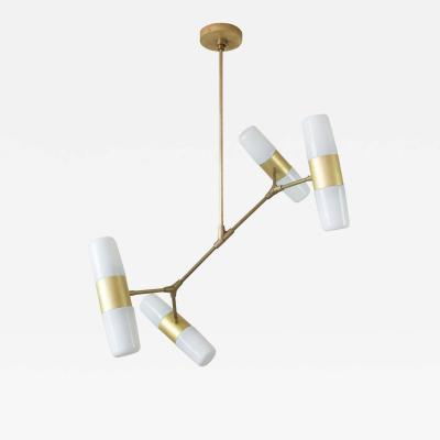 Thierry Jeannot PENDANT LAMP polished brass bronze 60ies glass shades