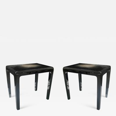 Thierry Voeltzel Pair of Side Tables in Lacquer and Eggshell