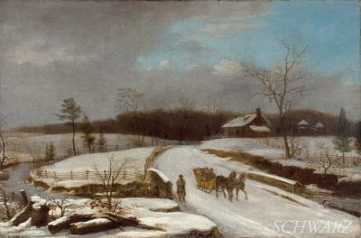 Thomas Birch Winter Sleigh Scene