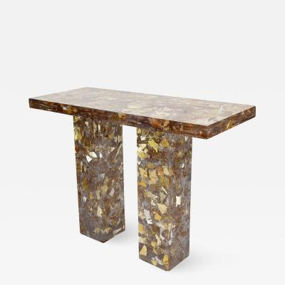 Thomas Brand Console table in resin with sliver leaf inclusions