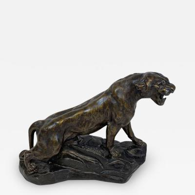 Thomas Cartier Art Deco Lioness Sculpture by Thomas Cartier Cast Zinc France circa 1930