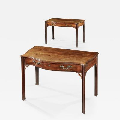 Thomas Chippendale ANTIQUE English SIDETABLES Pair of Extremely Rare Mahogany Serpentine
