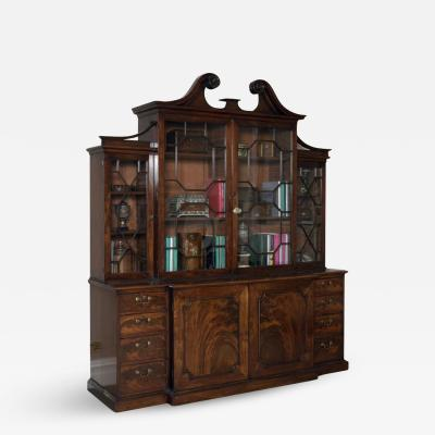 Thomas Chippendale Antique English Fine Georgian Period Library Mahogany Breakfront Bookcase