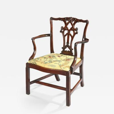 Thomas Chippendale Antique English Fine Pure Chippendale Period Cuban Carved Mahogany Armchair