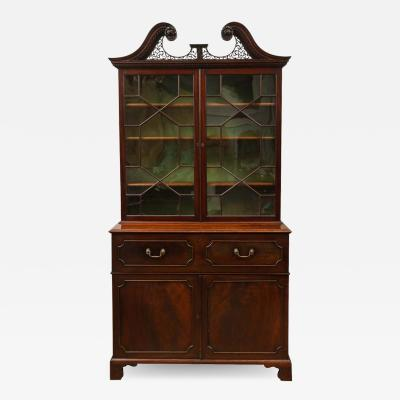 Thomas Chippendale George III Secretaire Bookcase in the Manner of Thomas Chippendale