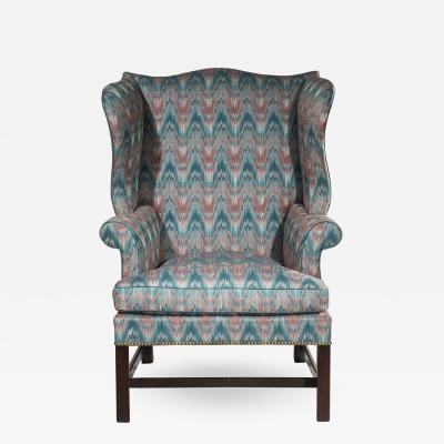 Thomas Chippendale Oversize Chippendale Wing Chair in Flamestitch Textile