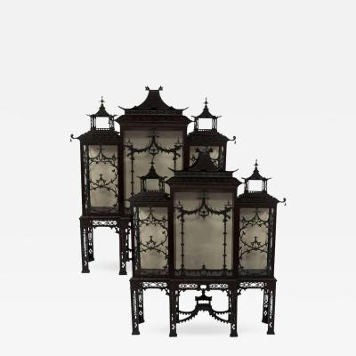 Thomas Chippendale Pair of 19th Century Chinese Chippendale Pagoda Cabinets