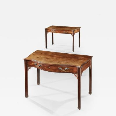 Thomas Chippendale Pair of Chippendale Period Mahogany Serpentine Side Tables