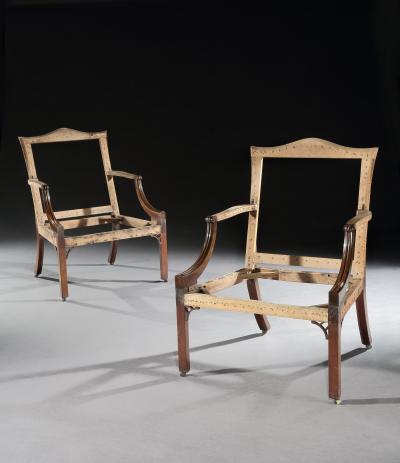 Thomas Chippendale Pair of Georgian Period Gainsborough Chairs