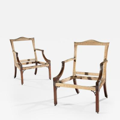 Thomas Chippendale Pair of Georgian Period Gainsborough Chairs