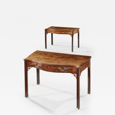 Thomas Chippendale Pair of Georgian Period Mahogany Serpentine Sidetables Matched