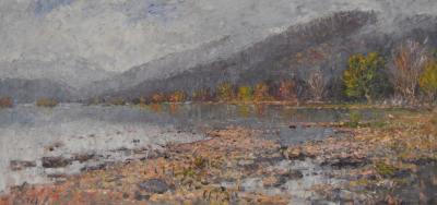 Thomas Corwin Lindsay Mountain Landscape with Tranquil Water