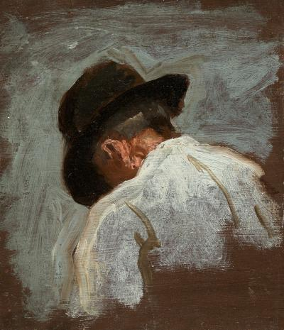 Thomas Eakins Study of a Man s Head for Mending the Net