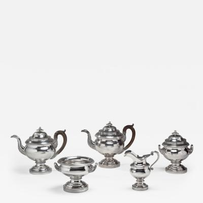 Thomas Fletcher 5 Pieces Silver Tea Service