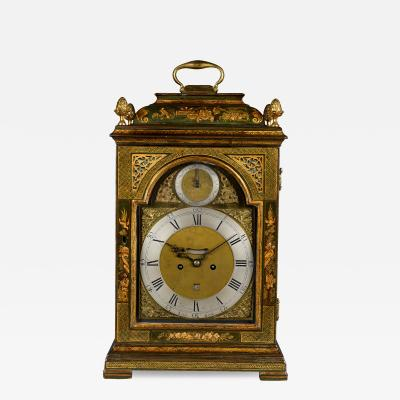 Thomas Gardner London A fine George III green lacquer table clock with quarter repeat on 6 bells