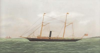Thomas H Willis Outstanding portrait of 125 steam sail vessel Avenel off Sandy Hook Lightship