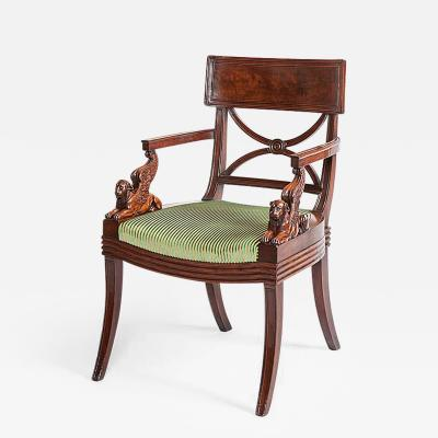 Thomas Henry Hope English Regency Period Mahogany Armchair Designed by Thomas Hope