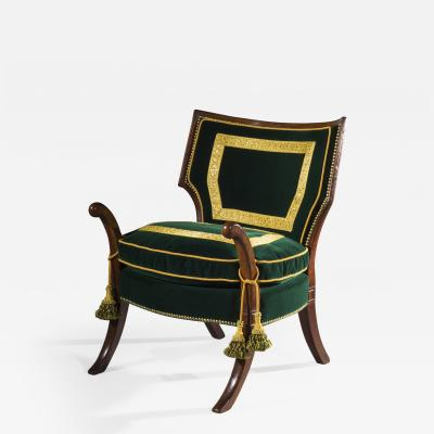 Thomas Hope Rare Regency Officers Klismos Armchair